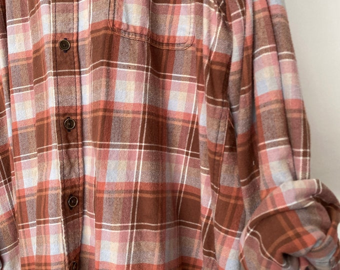 2X vintage flannel shirt, rust colored plaid, XXL, unisex bridesmaid flannels