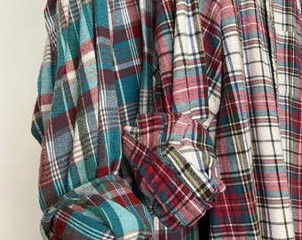 2 Nightshirt Style vintage flannel shirts, set of bridesmaid robes, burgundy and teal blue, M/L medium large long length
