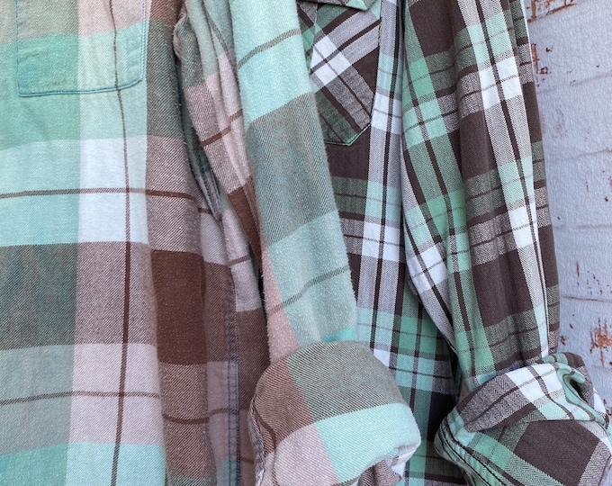 Large and 2X vintage flannel shirt, set of 2, mint with cocoa brown plaid, couples shirts
