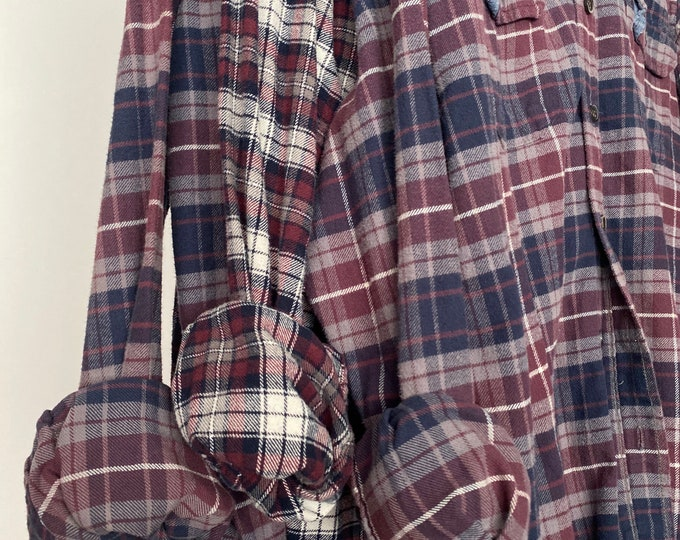 Small vintage flannel shirts curated as a set of 3 bridesmaid flannels, colors are maroon and navy plaid
