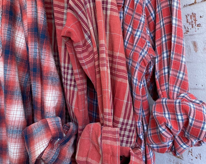 Medium vintage flannel shirts curated as a set of 3 coral and blue