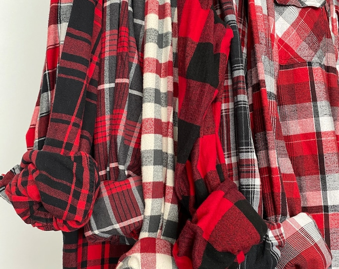 7 Large flannel shirts curated as a set of bridesmaid flannels, color red plaids with bride shirt