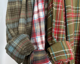 3 Nightshirt Style vintage flannel shirts, set of bridesmaid robes, olive green sage and red, M/L medium large long length