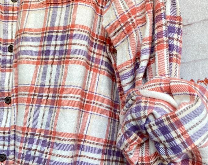 2X Tall vintage flannel shirt pumpkin spice plaid, XXL long nightshirt