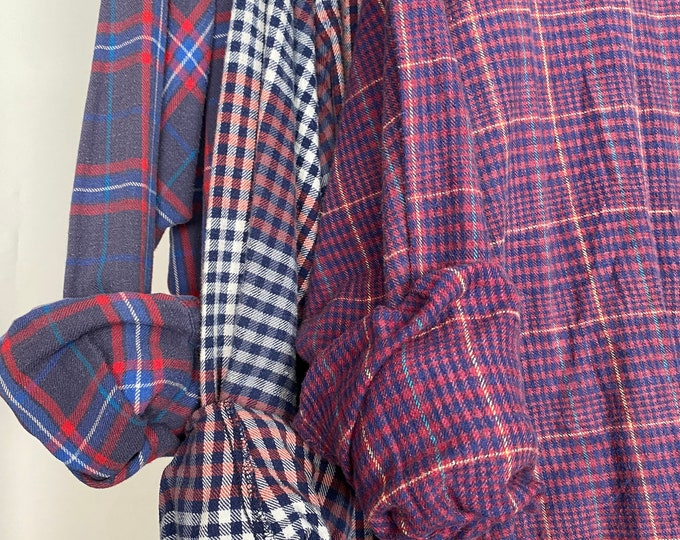 3 flannel shirts curated as a set of bridesmaid flannels, colors are burgundy navy plum and red,  L/XL large Xlarge
