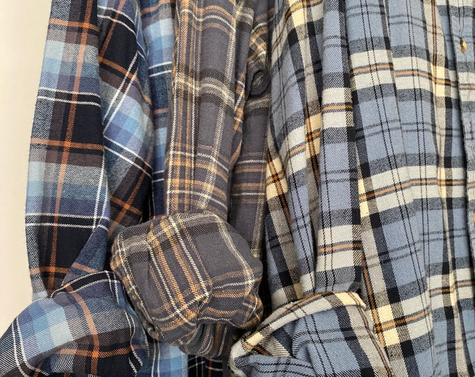 XL vintage flannel shirts, set of 3 boyfriend flannels, dusty blue and dove gray plaid, extra large