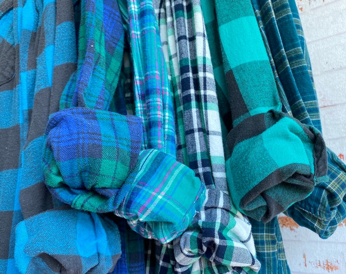 6 vintage flannel shirts curated as a set, mismatched bridesmaid flannels, teal plaids with bride shirt, S/M small medium