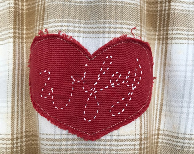 Featured listing image: Hand stitched Heart Patch, Customized and Personalized, Bride, Wifey Label ADD ON item