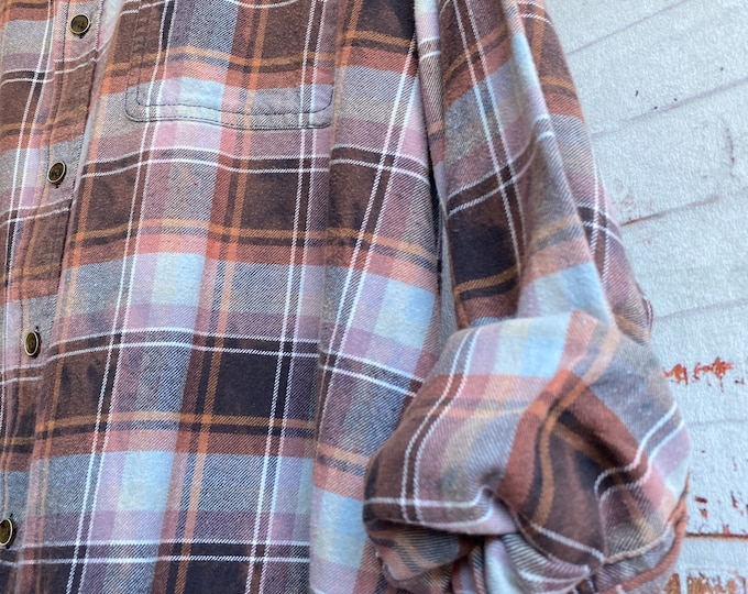 2X vintage flannel shirt distressed plaid, fall colors, XXL