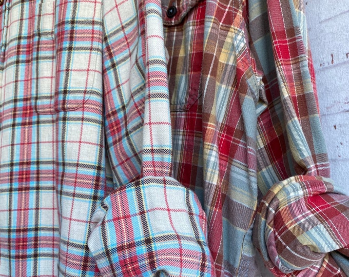 XL vintage flannel shirts curated as a set of 2 in fruit punch and dusty blue, Xlarge