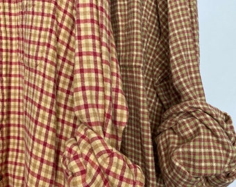 L/XL vintage flannel shirts curated as a set of 2, colors are yellow red and lime green plaid, bridesmaid flannels, large Xlarge
