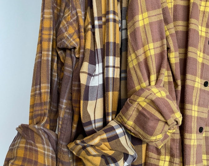 LARGE vintage flannel shirts curated as a set of 3 in mustard and purple mauve  plaid