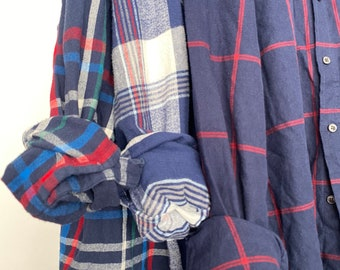 LARGE vintage flannel shirts, set of 3 bridesmaid flannels, color is navy blue plaid