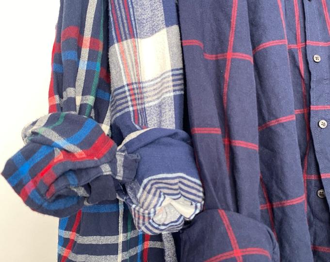LARGE vintage flannel shirts, set of 3 bridesmaid flannels, color is navy blue plaid