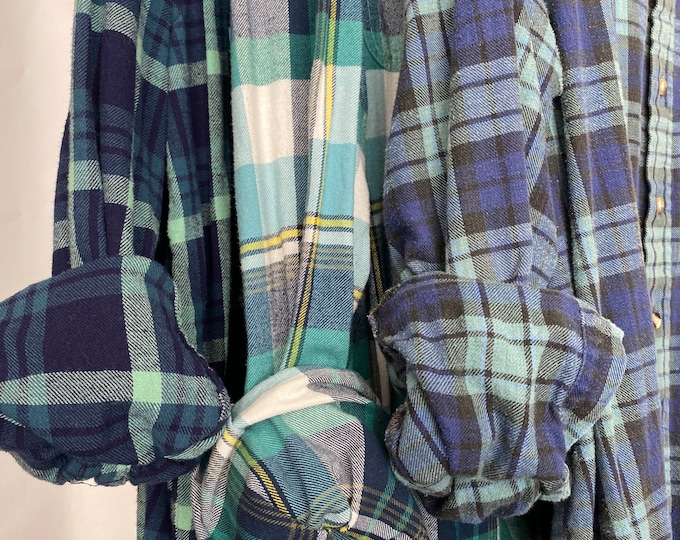 2X vintage flannel shirts curated as a set of 3 in teal turquoise blue
