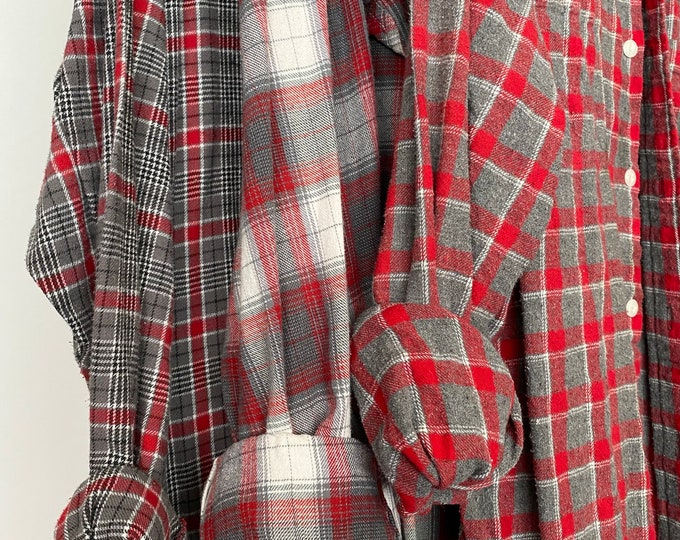 M/L Nightshirt Style vintage flannel shirts curated as a set of 3, red gray and white, medium large long length