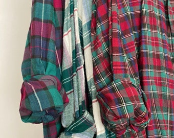3 Nightshirt Style vintage flannel shirts, set of bridesmaid robes, emerald green burgundy and blue, M/L medium large long length