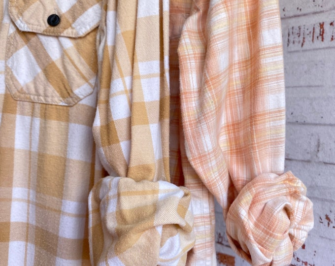 Small vintage flannel shirts curated as a set of 2, peach yellow and ivory plaid