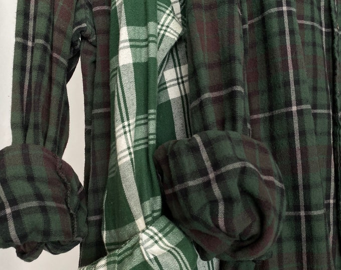 L/XL vintage flannel shirts curated as a set of 3,  colors are green with plum brown plaid, bridesmaid flannels, large Xlarge