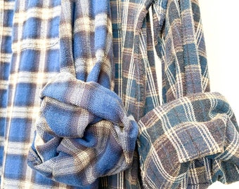 XL vintage flannel shirts, set of 2 boyfriend flannels, colors blue and plum plaid, Xlarge
