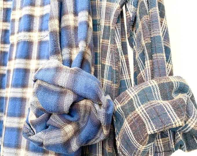 XL vintage flannel shirts, set of 2 boyfriend flannels, colors blue and plum plaid, Xlarge