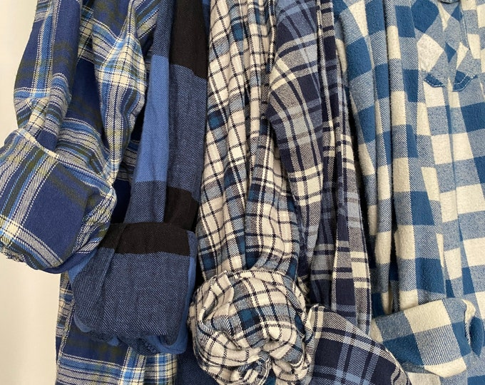 M/L vintage flannel shirts curated as a set of 5 in blue shades