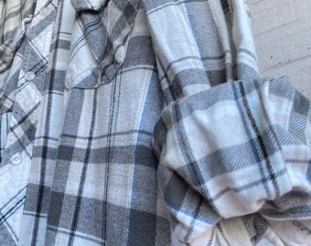 XL vintage flannel shirt, white with gray plaid, bride getting ready button down, xlarge