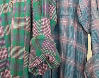 2 Large flannel shirts, set of mismatched flannels, lavender green and blue, L , RARE vintage plaid