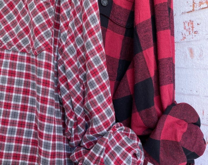 3X vintage flannel shirts curated as a set of 2 burgundy plaid shirt XXXL big and tall