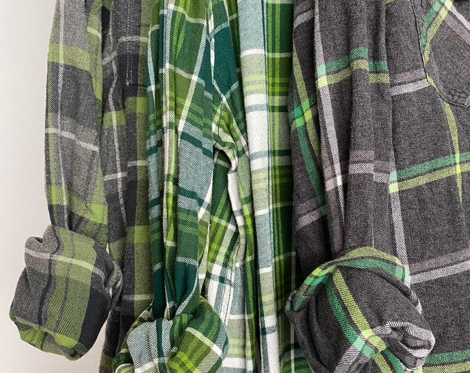 M/L vintage flannel shirts curated as a set of 3, bridesmaid flannels, medium large, colors are green and gray