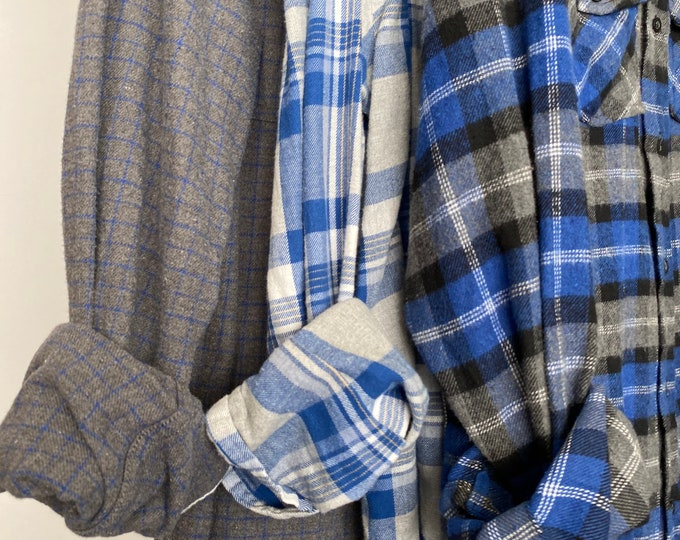 L/XL vintage flannel shirts curated as a set of 3 in royal blue and gray