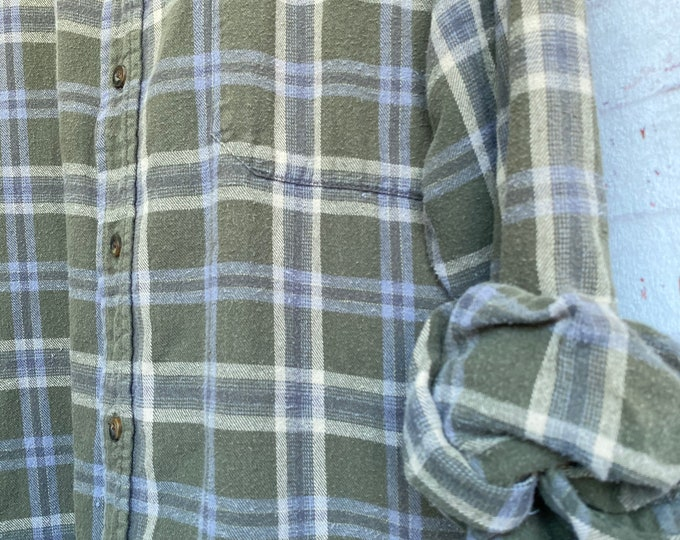 2X vintage flannel shirt sage plaid XXL