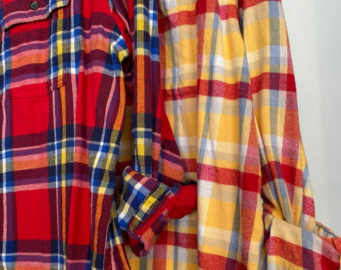 L/XL vintage flannel shirts curated as a set of 2 in red, yellow and blue, large Xlarge