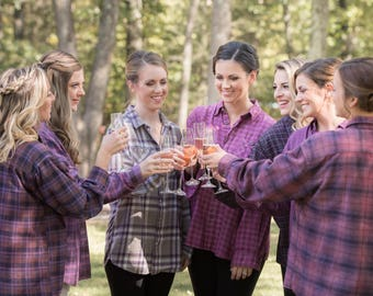 Purple Flannel Shirt, bridesmaid flannel, bridesmaid button down shirts, BERRY SWEET PEA Bridesmaid robes in ultra violet, pink, plum, berry