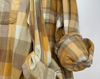 2 Nightshirt style flannel shirt set, vintage flannels, colors are mint copper tan and mustard, size small and M/L, bridesmaid robes