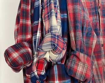 S/M vintage flannel shirts curated as a set of 5 in red, white and blue plaids