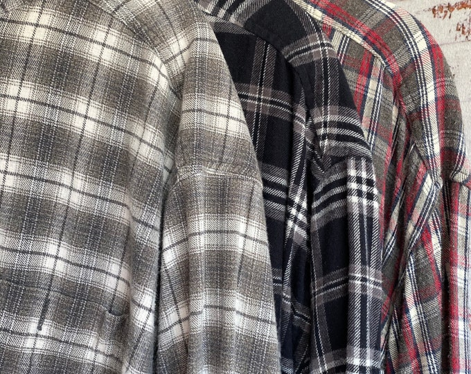 2X nightshirt style vintage flannel shirts curated as a set of 3 flannels, black and gray with red, XXL TALL