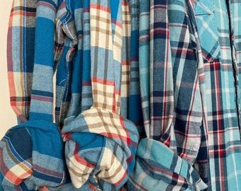 M/L vintage flannel shirts, set of 3 bridesmaid flannels, color capri blue plaid, medium large