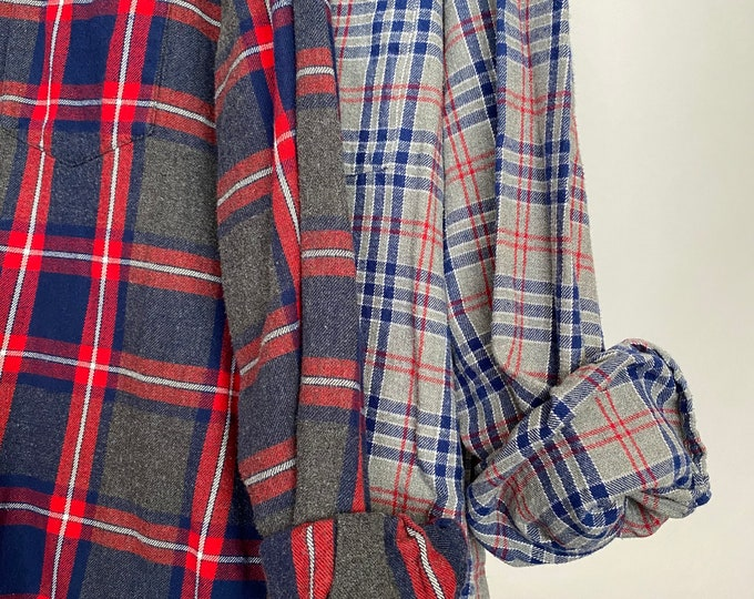 Medium and 2X vintage flannel shirt, set of 2, blue red and gray plaid, couples shirts