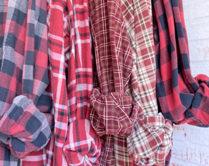 L/XL vintage flannel shirts curated as a set of 5, colors are wine burgundy plaid