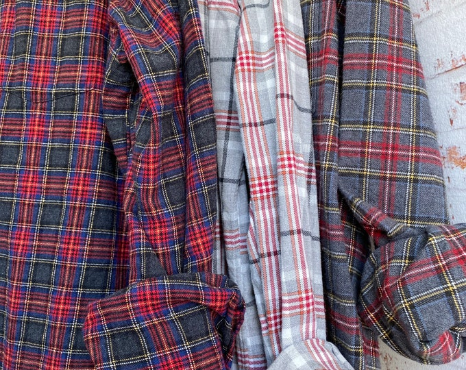M/L vintage flannel shirts curated as a set of 3 in gray shades