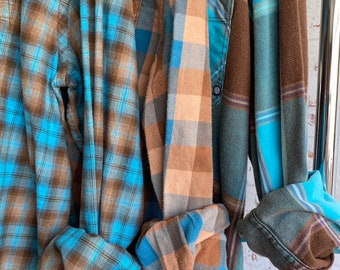 LARGE vintage flannel shirts curated as a set of 3, bridesmaid flannels for getting ready, robins egg blue and brown plaid
