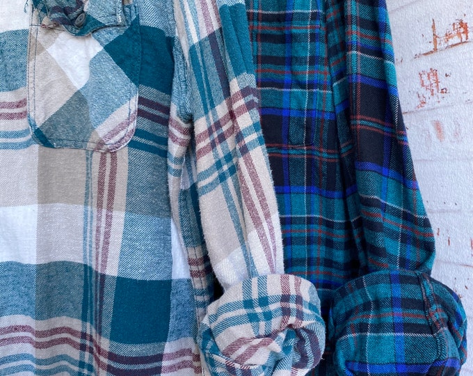 Medium and XLarge vintage flannel shirt, set of 2, teal with tan and black plaid, couples shirts
