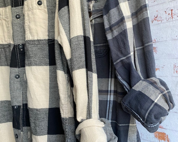 Medium vintage flannel shirts curated as a set of 2 in gray and black