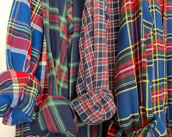 LARGE vintage flannel shirts, set of 4 bridesmaid flannels, color is holiday blue plaid