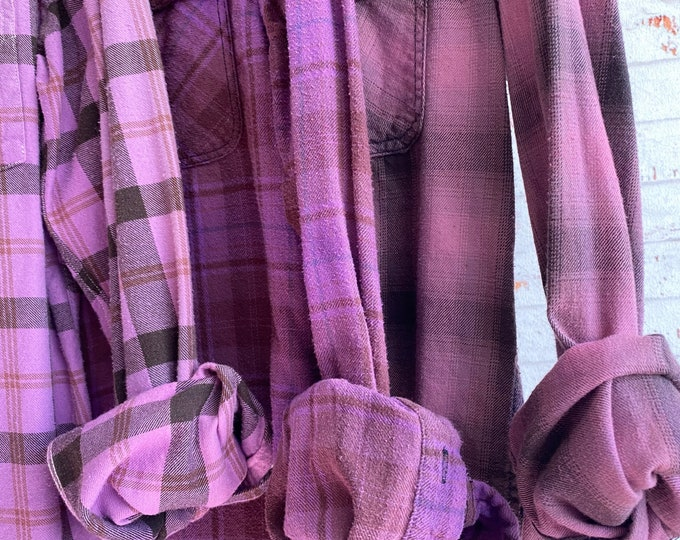 Small vintage flannel shirts curated as a set of 3 in purple plaid