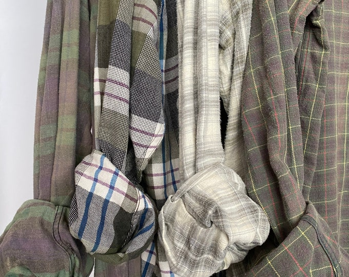 L/XL Nightshirt Style vintage flannel shirts curated as a set of 4 in sage, eucalyptus, olive green, lavender, and plum