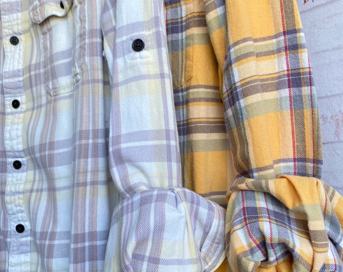 Small vintage flannel shirts curated as a set of 2 in lavender and yellow plaid