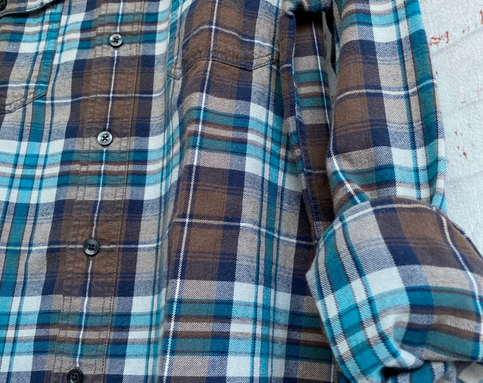 Large vintage flannel shirt brown and teal plaid L LG