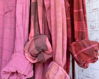 XL vintage flannel shirts curated as a set of 4 in pink, salmon, coral, X large